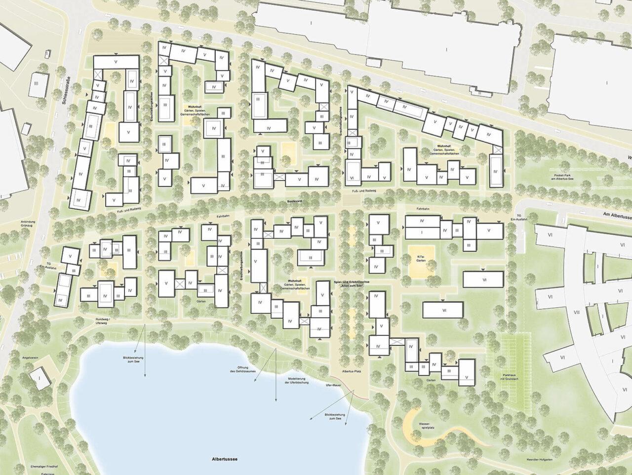 Albertussee Duesseldorf Wohnviertel Lageplan