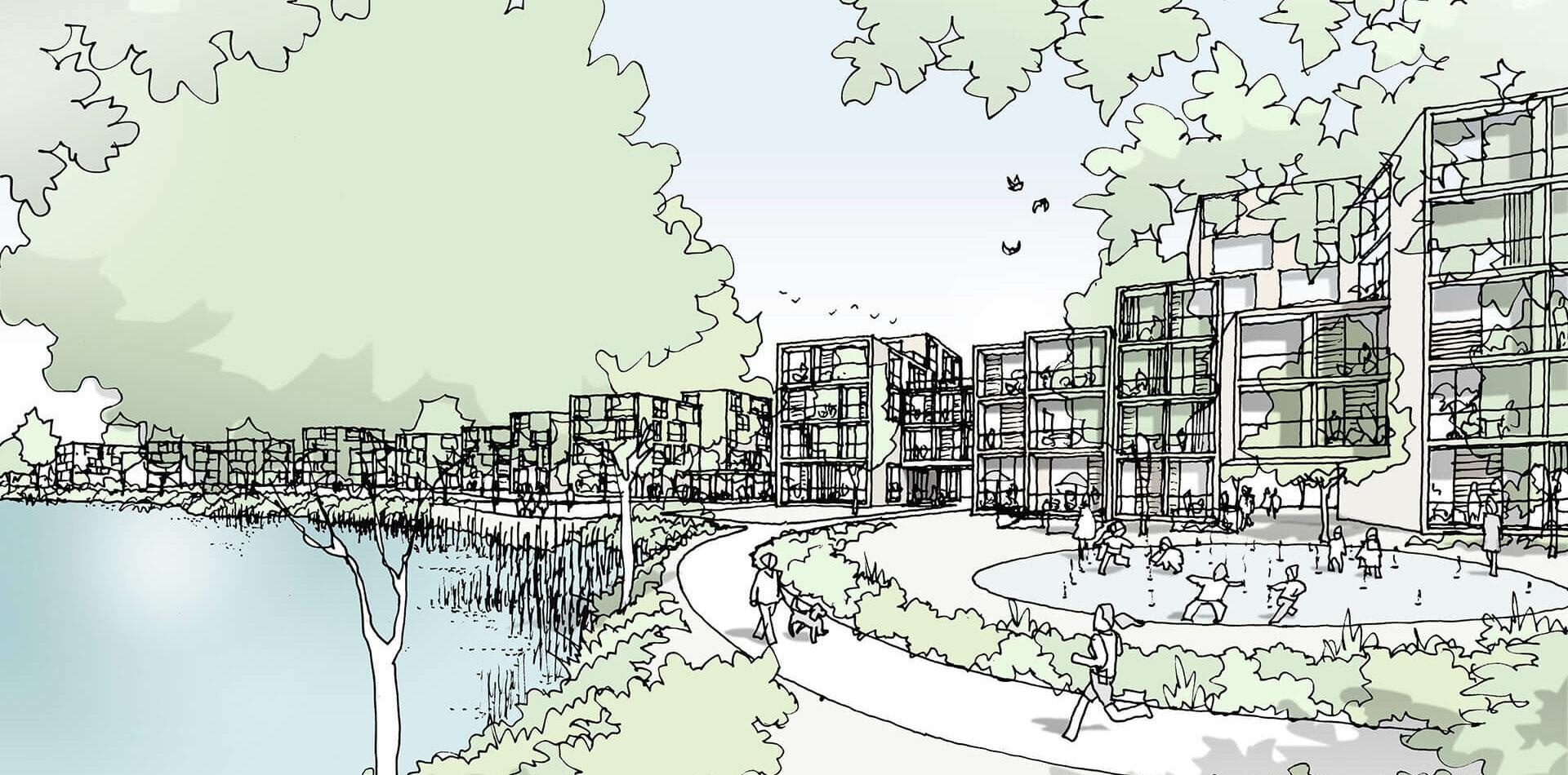 Albertussee Duesseldorf Wohnviertel Visualisierung Aussenperspektive