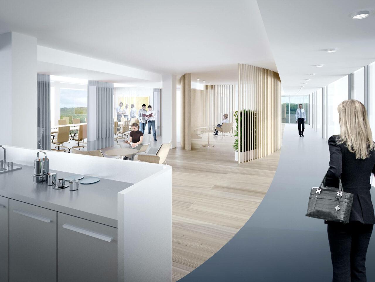 Brenntag House of Elements Essen Bürogebäude Innenarchitektur Rendering