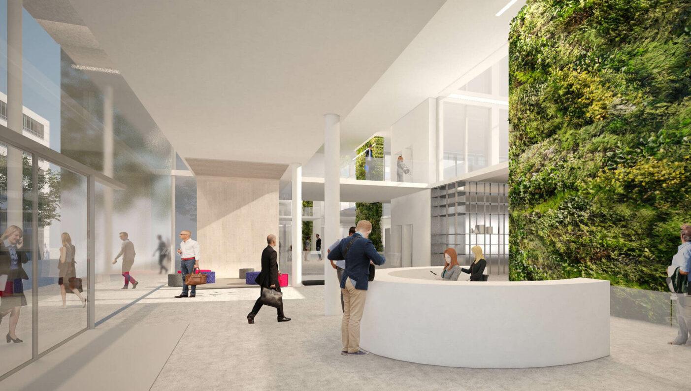 Brenntag House of Elements Essen Bürogebäude Innenarchitektur Rendering Eingangsbereich