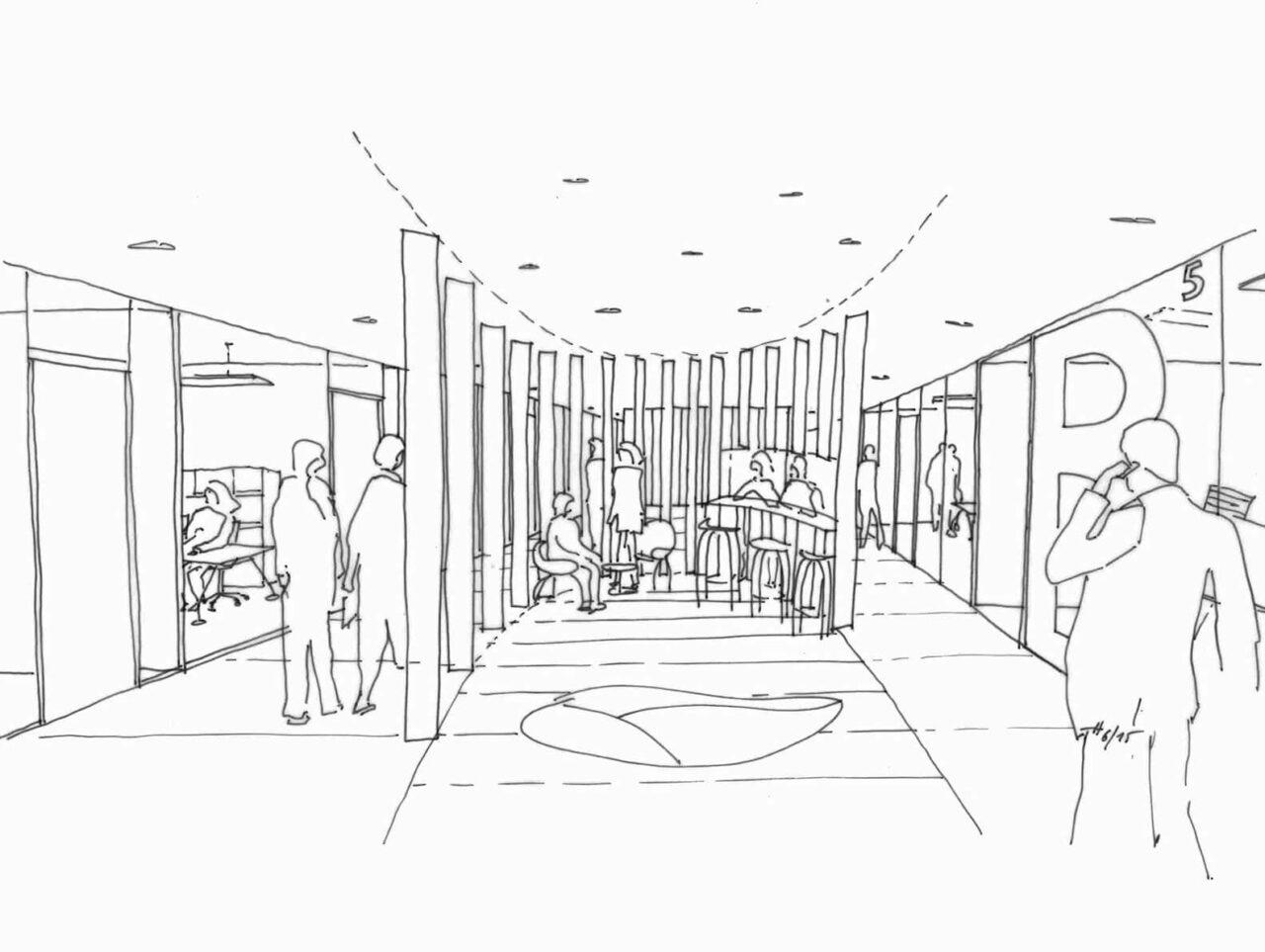 Brenntag House of Elements Essen Bürogebäude Innenarchitektur Zeichnung Gang