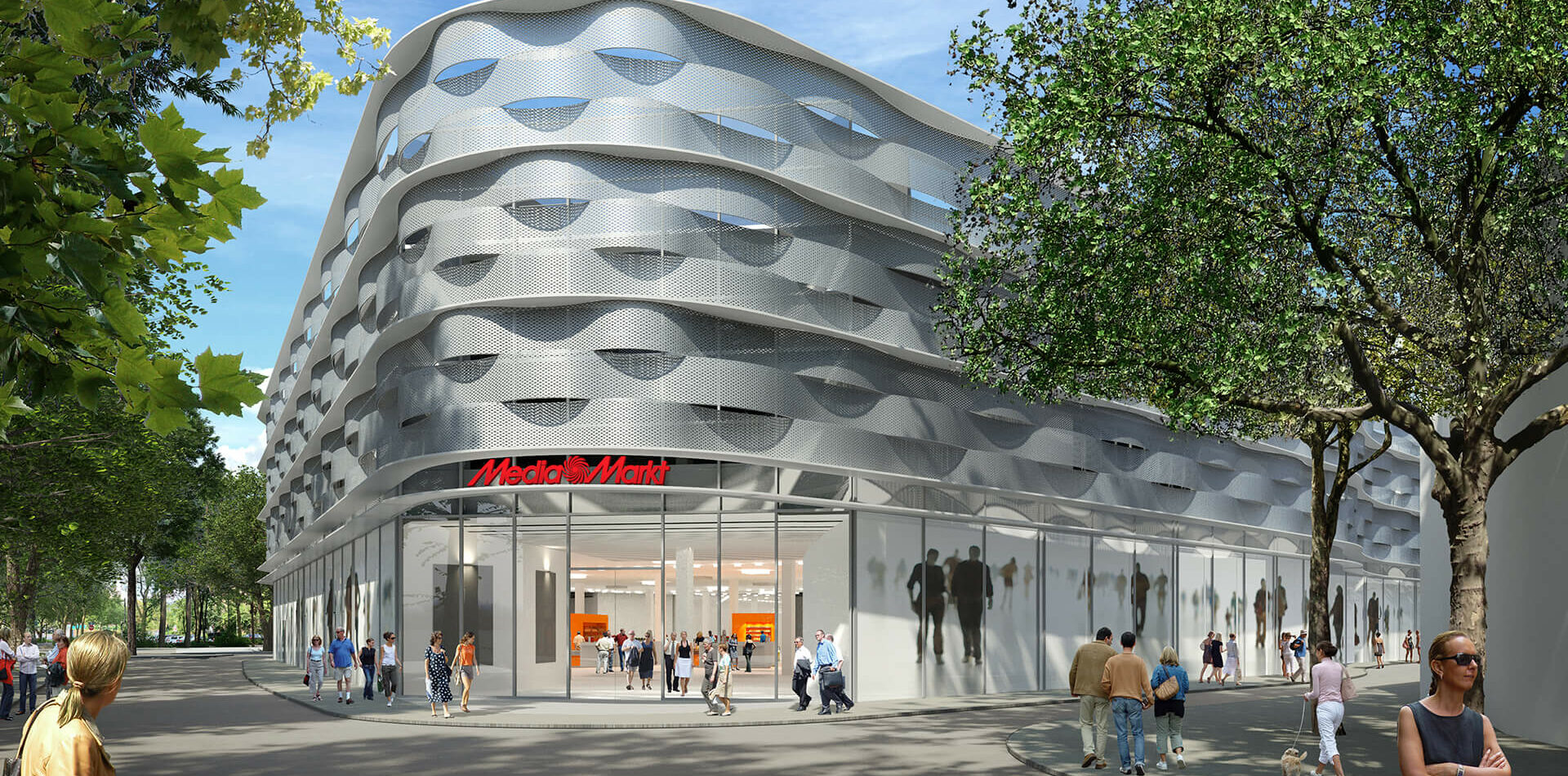 Mediamarkt Dortmund Hörde Elektrofachmarkt Digitaldruckkunstwerk Eingangsbereich Aussen