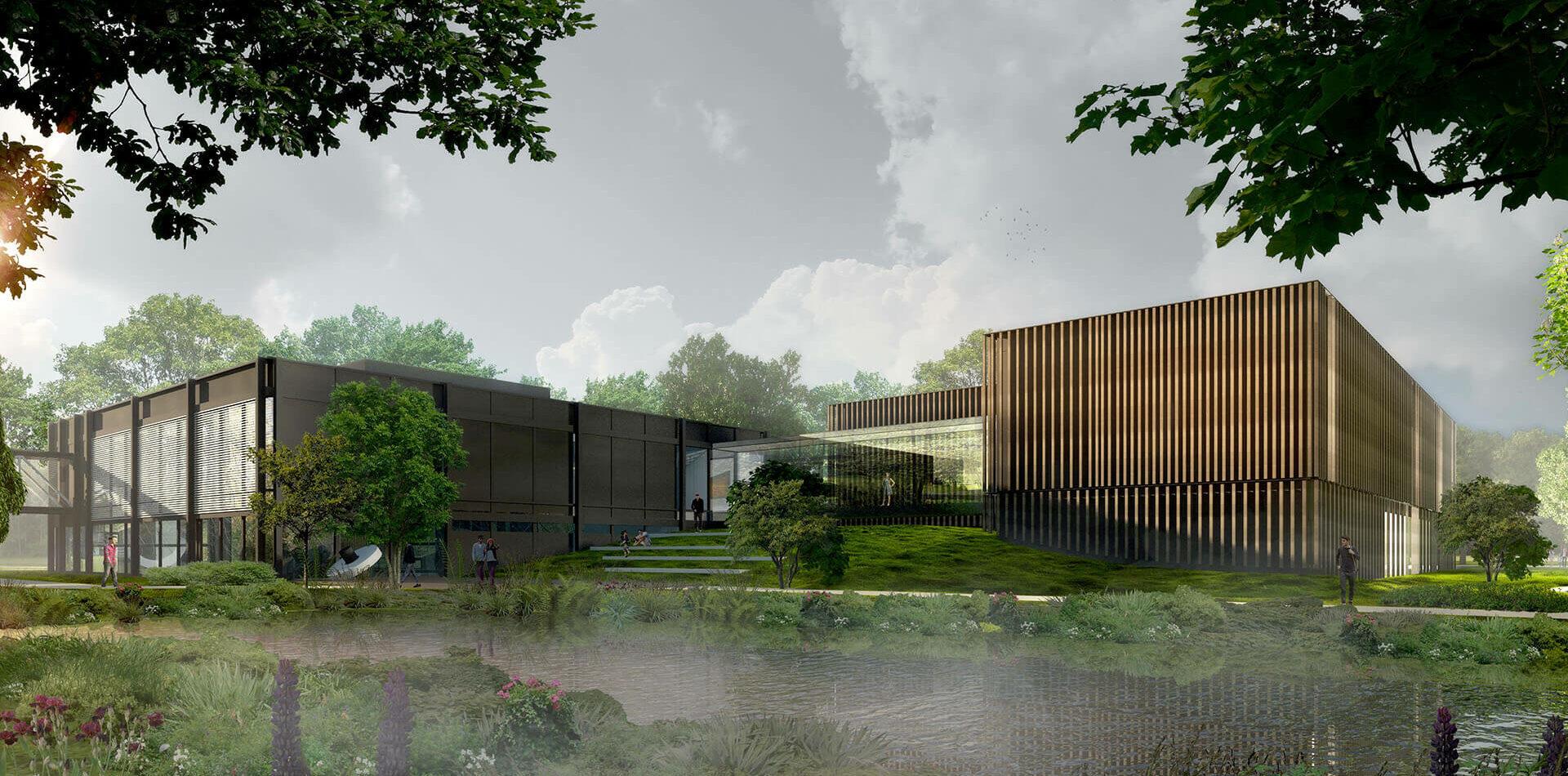 Museum Quadrat Bottrop Bestand und Neubau Museumserweiterung Aussenperspektive Landschaft