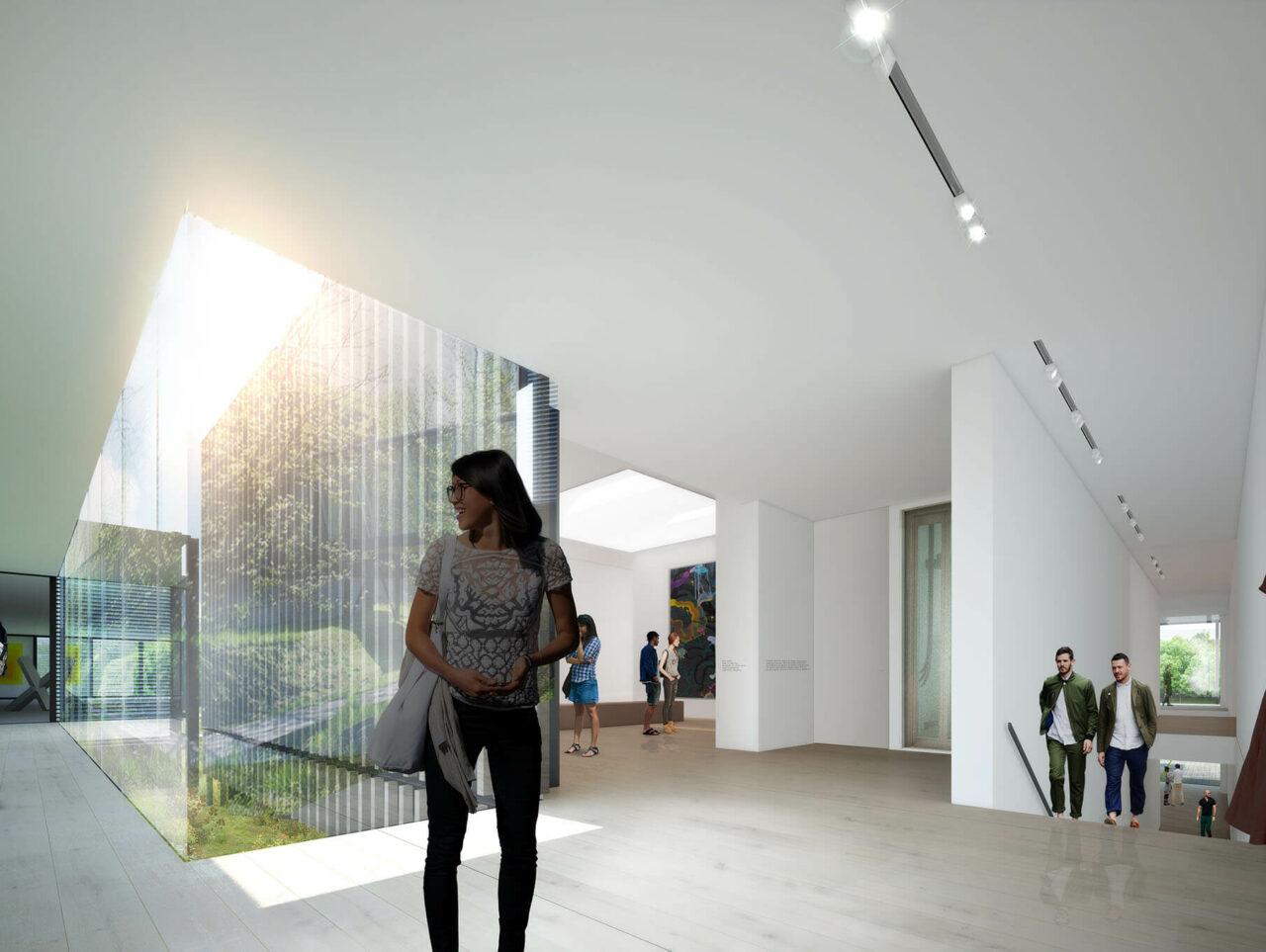 Museum Quadrat Bottrop Bestand und Neubau Museumserweiterung Innenperspektive Visualisierung
