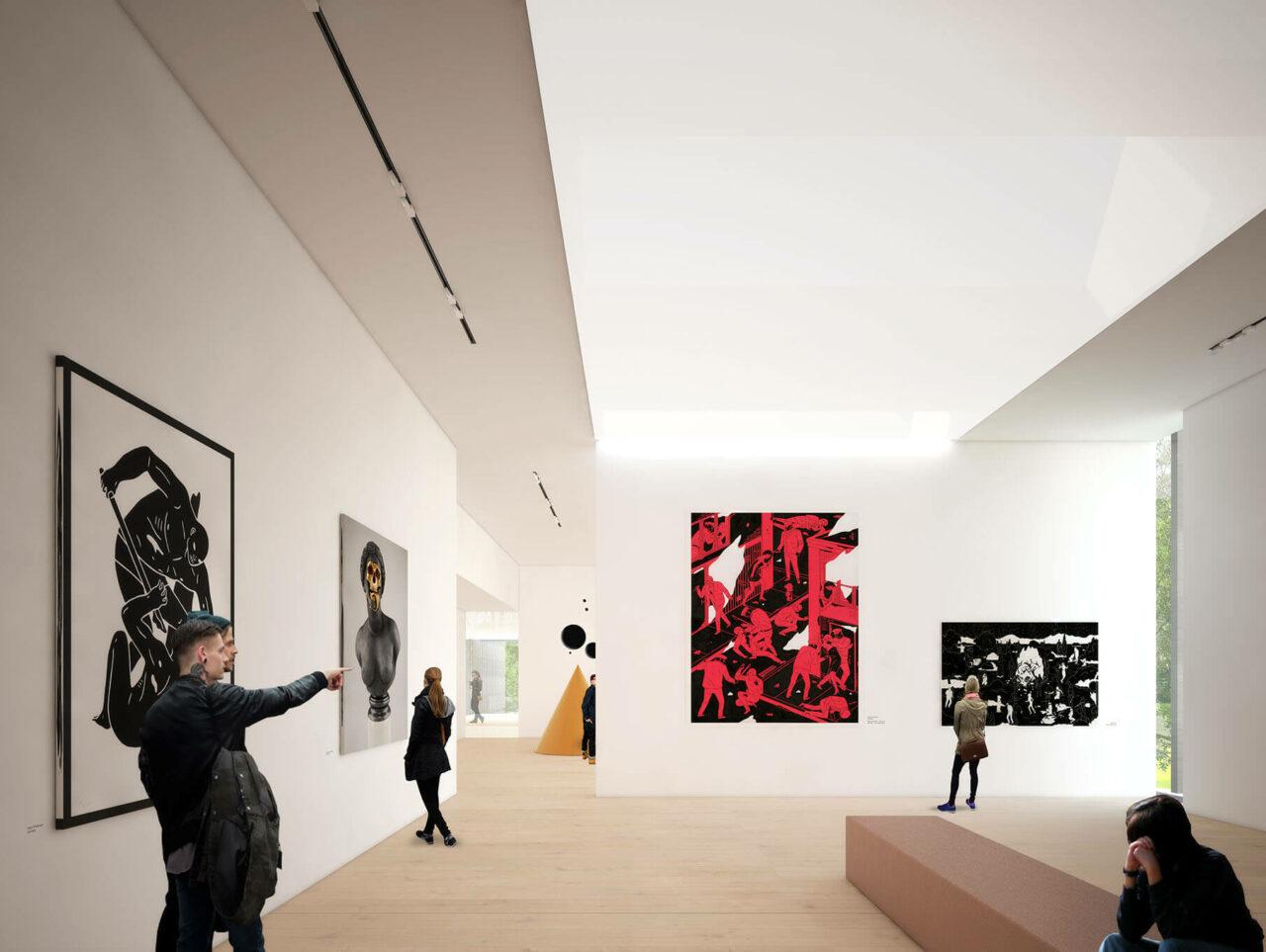 Museum Quadrat Bottrop Bestand und Neubau Museumserweiterung Innenraumvisualisierung
