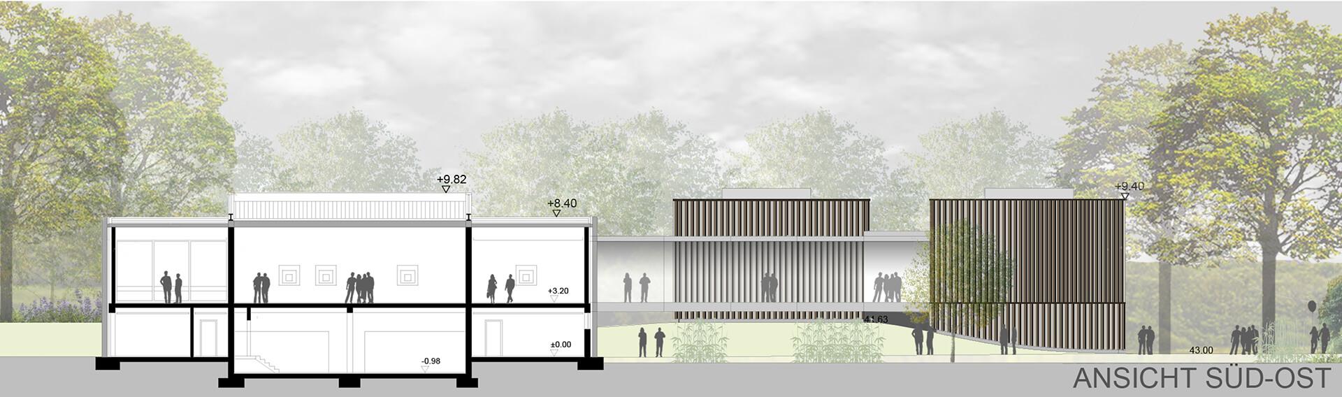 Museum Quadrat Bottrop Bestand und Neubau Museumserweiterung Seitenansicht