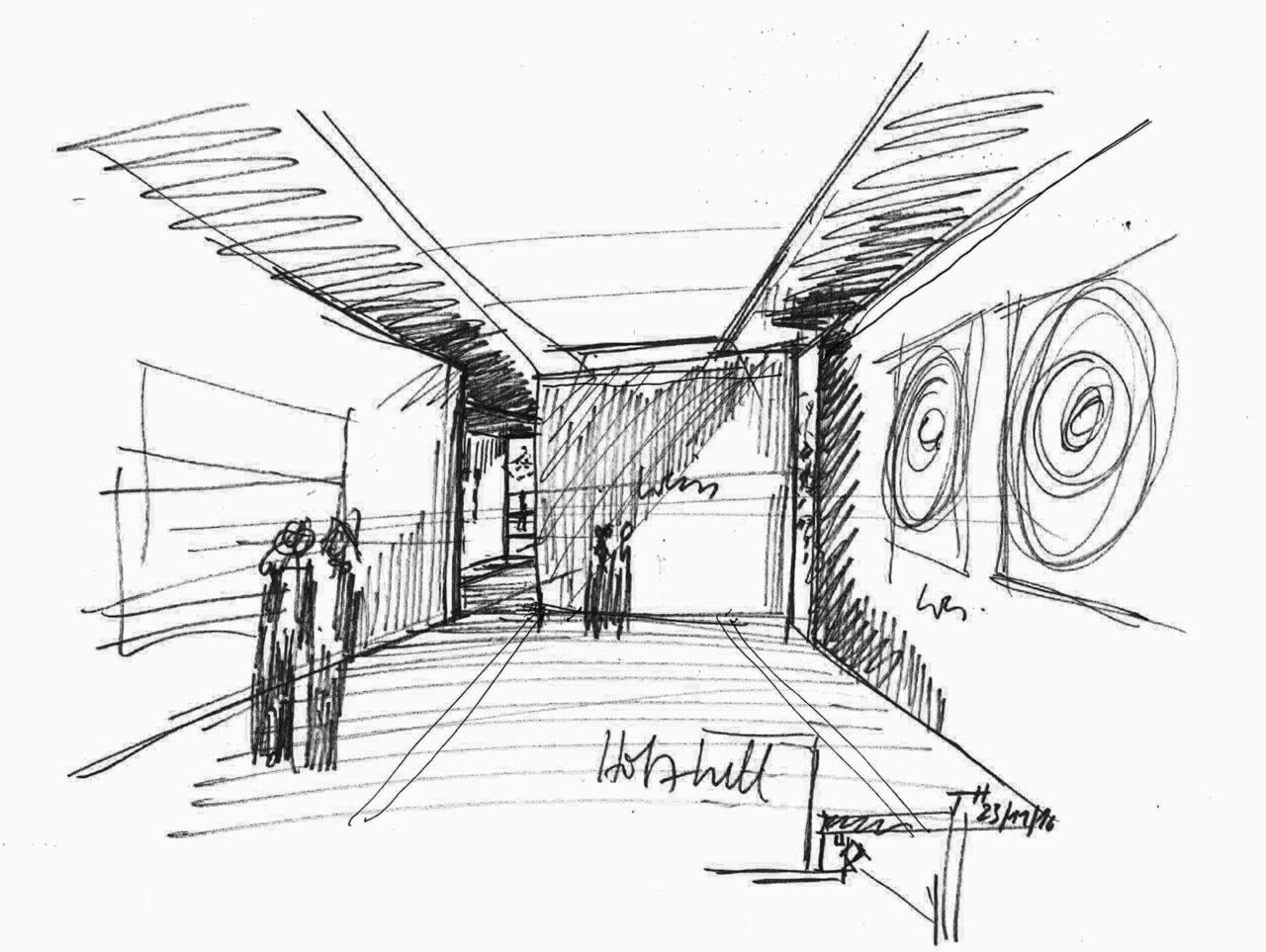 Museum Quadrat Bottrop Bestand und Neubau Museumserweiterung Skizze Innenperspektive