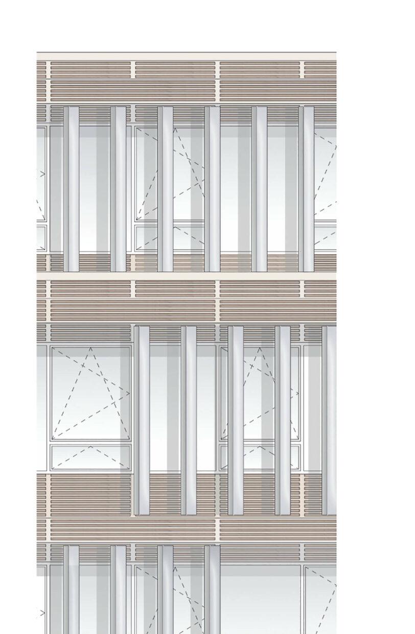 Neubau Landratsamt Dachau Bauen im Bestand Kommunikationszentrum Fensterfront
