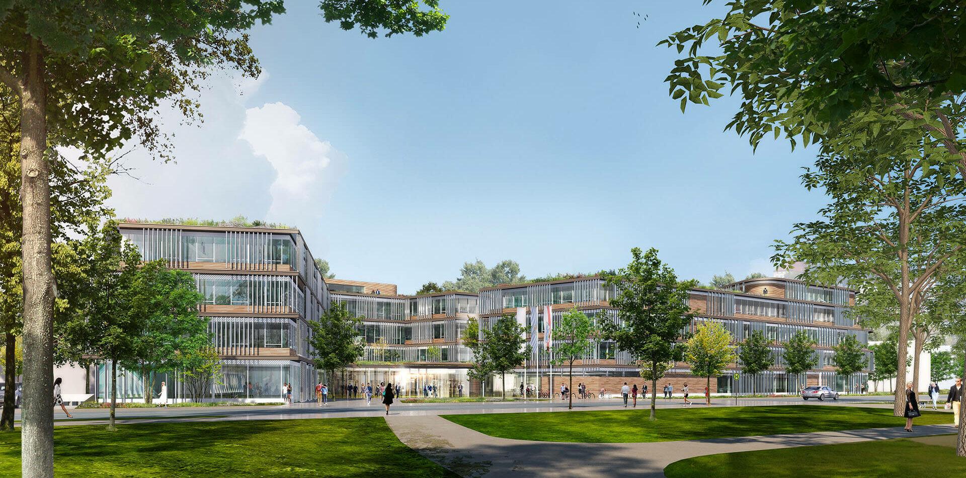 Neubau Landratsamt Dachau Bauen im Bestand Kommunikationszentrum Rendering Ansicht