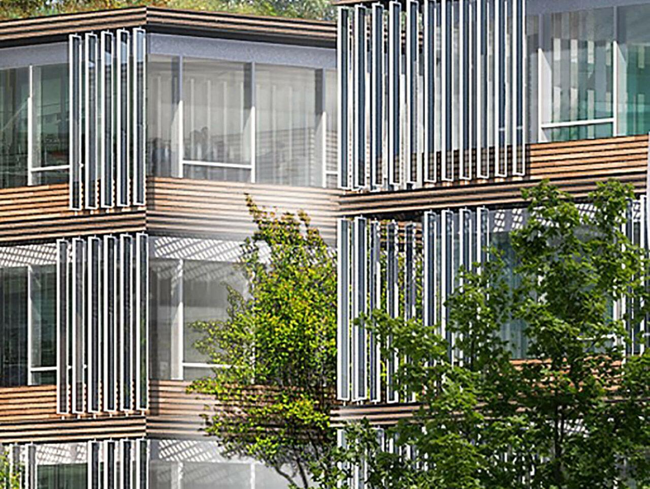 Neubau Landratsamt Dachau Bauen im Bestand Kommunikationszentrum Rendering Fenster