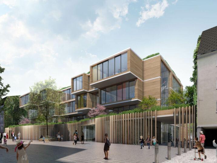 Neubau Tiegelschule Essen Grün lernen Aussenansicht