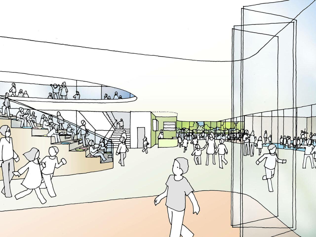 Neubau Tiegelschule Essen Grün lernen Aussenansicht Eingangsbereich