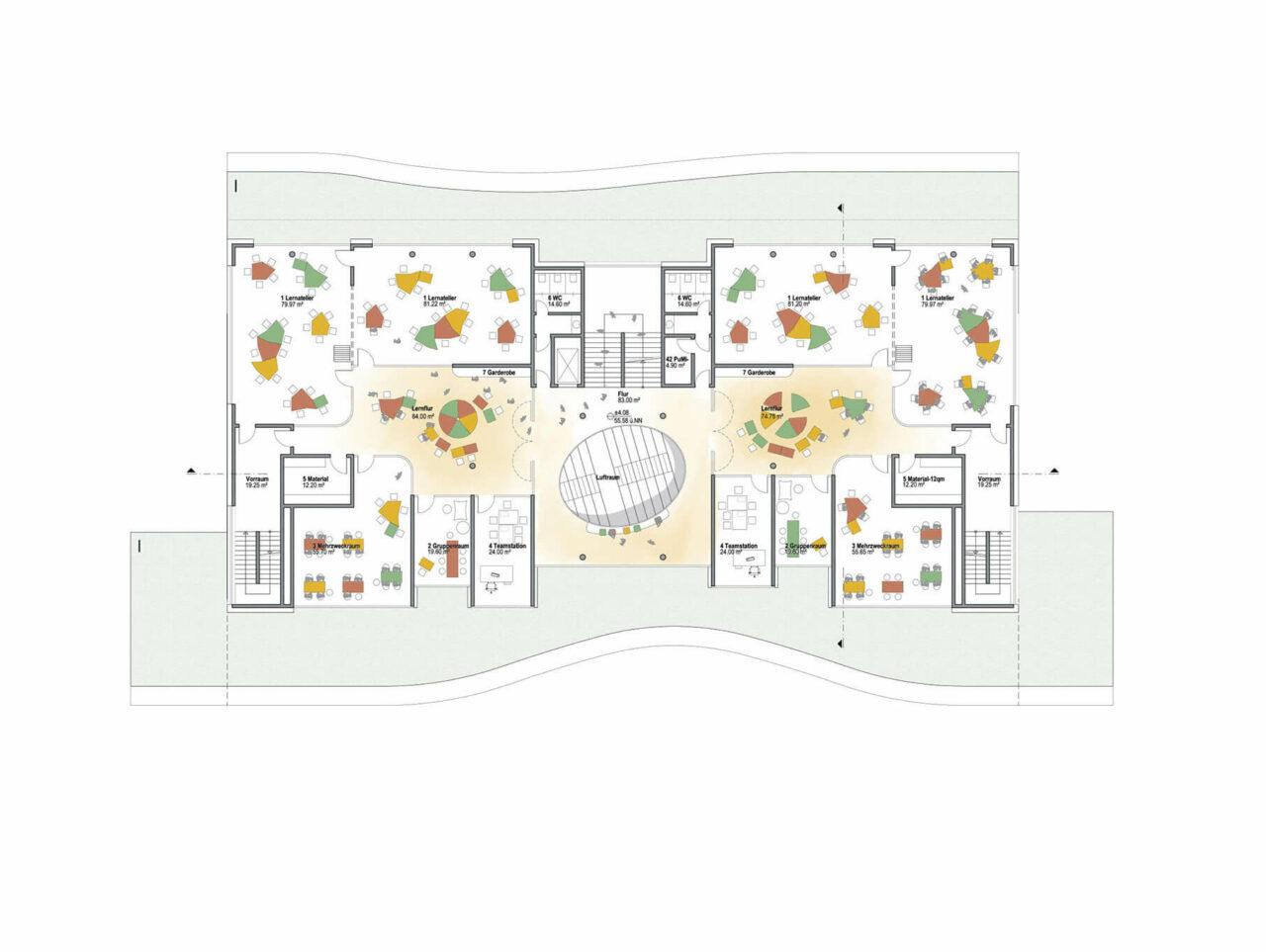 Neubau Tiegelschule Essen Grün lernen Aussenansicht Grundriss