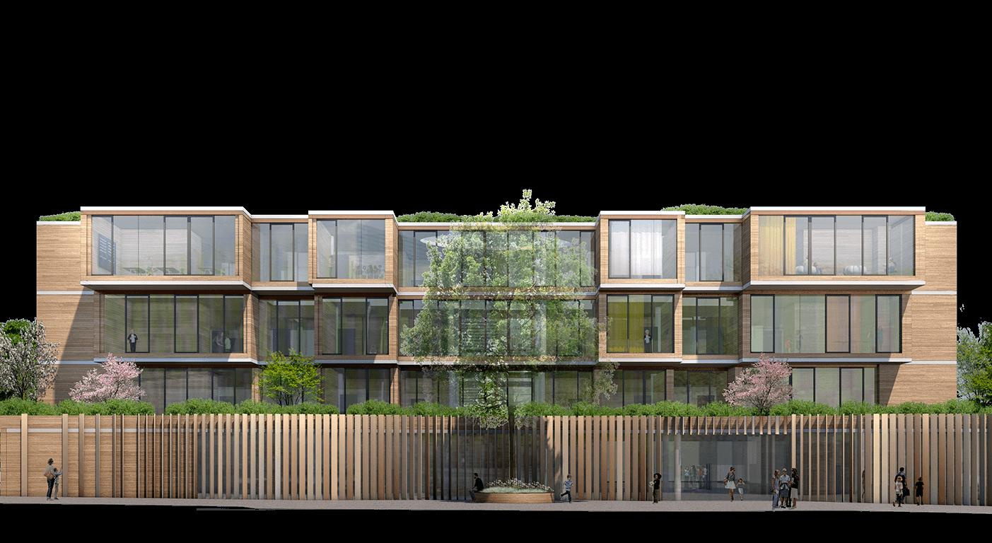 Neubau Tiegelschule Essen Grün lernen Aussenansicht Seitenansicht