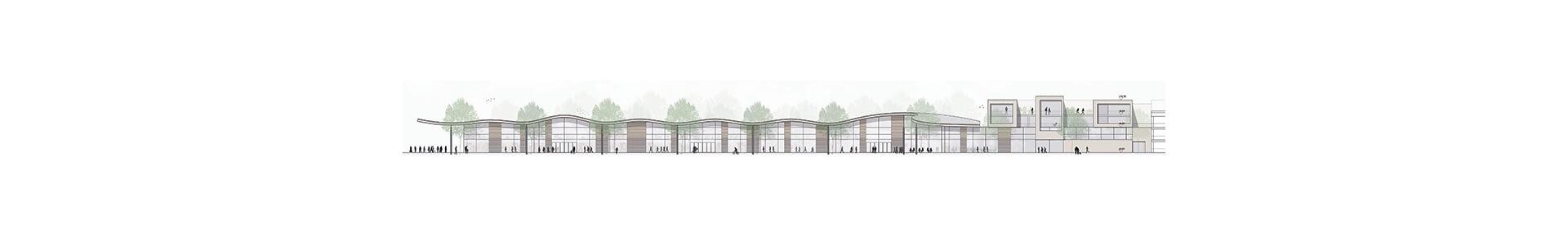 Rheda Wiedenbrueck Fachmarktzentrum mit Wohnbebauung Anerkennung Leichtigkeit Aussen
