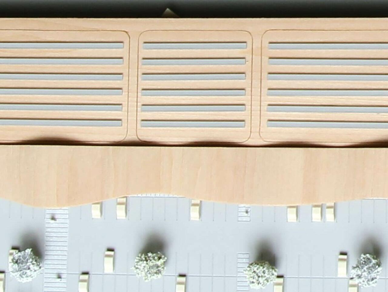 Rheda Wiedenbrueck Fachmarktzentrum mit Wohnbebauung Anerkennung Leichtigkeit Modell