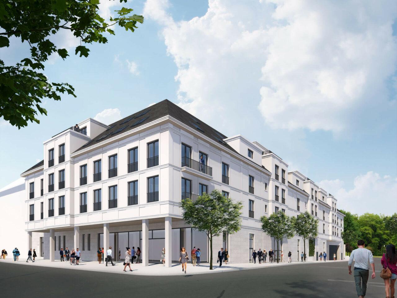 Villa für Viele Essen Bredeney Wohn- und Geschäftshaus zeitlos Aussenperspektive Rendering
