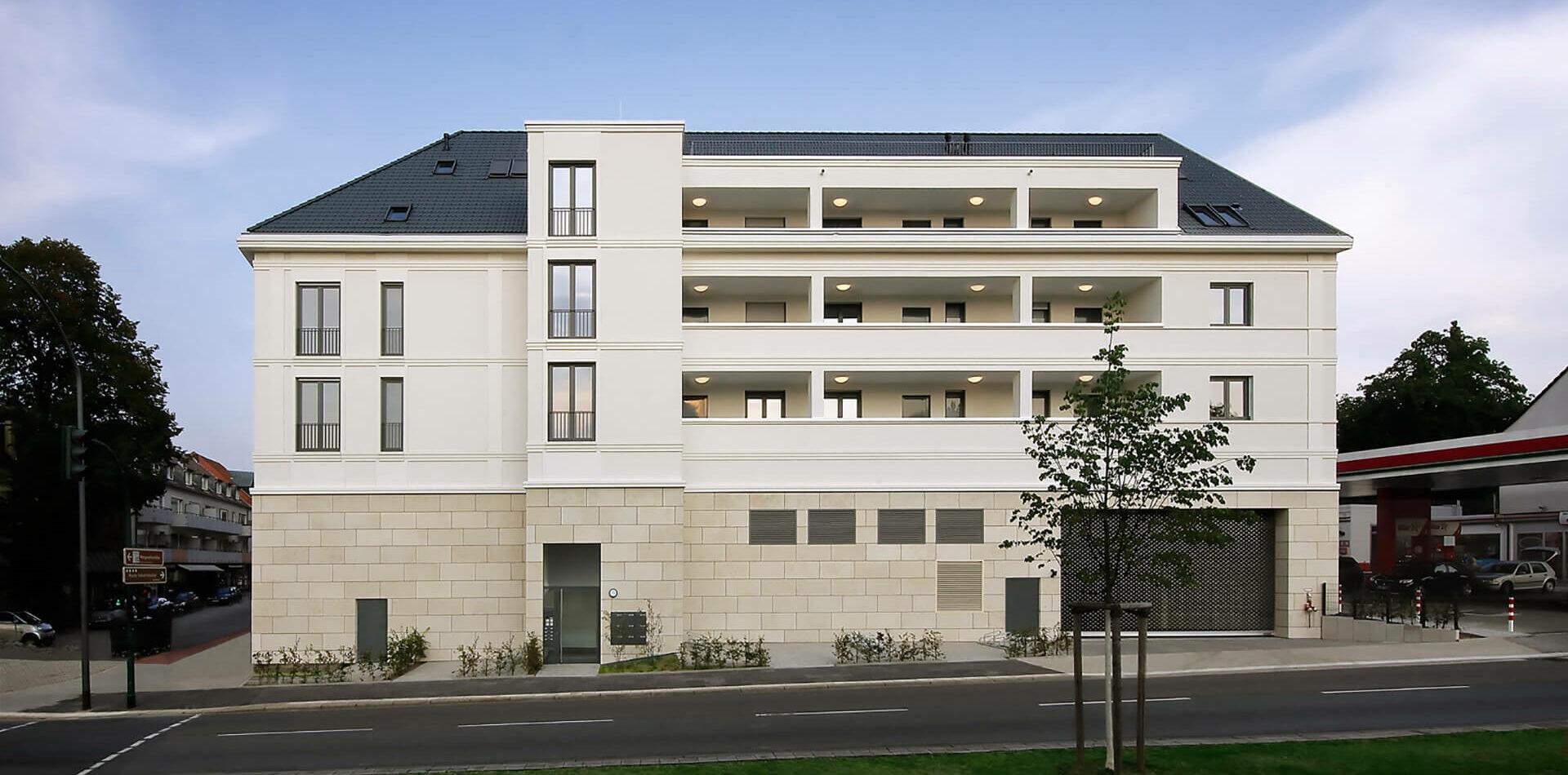 Villa für Viele Essen Bredeney Wohn- und Geschäftshaus zeitlos Aussenperspektive Visualisierung Seitenansicht