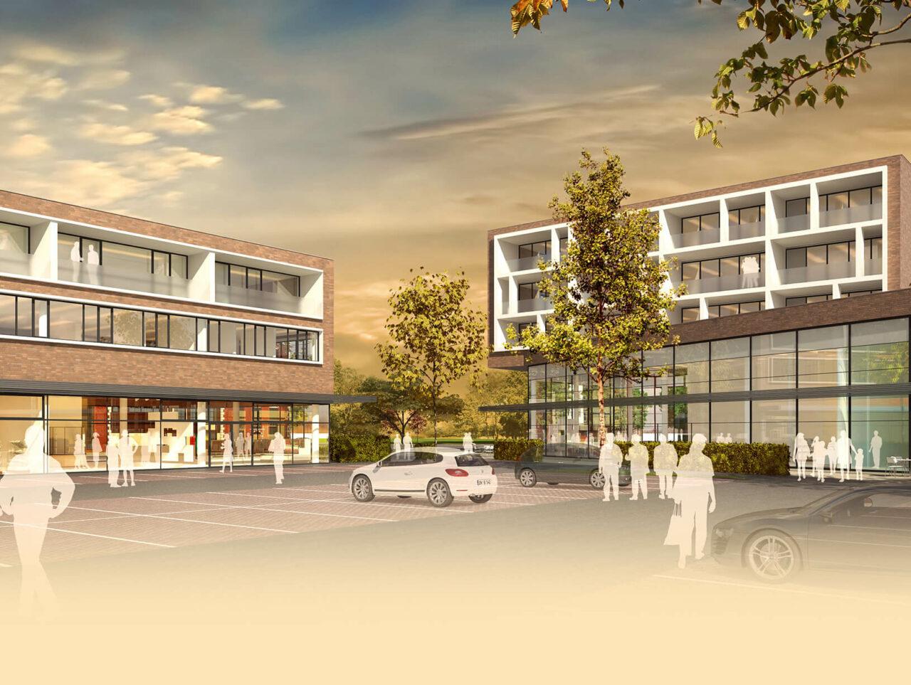 Zentrum Edeka Wohnen Münster Hiltrup Einzelhandel Rendering Parkplatz