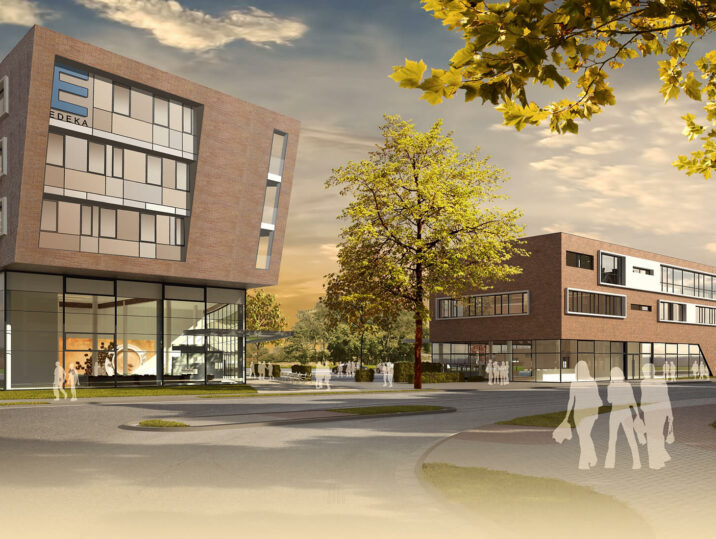 Zentrum Edeka Wohnen Münster Hiltrup Einzelhandel Rendering Vorderansicht