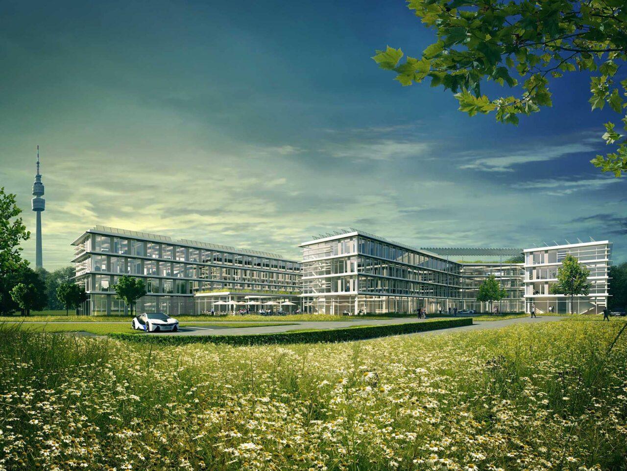Amprion Dortmund 2ter Preis Generalplaner-wettbewerb Aussenperspektive mit Landschaft