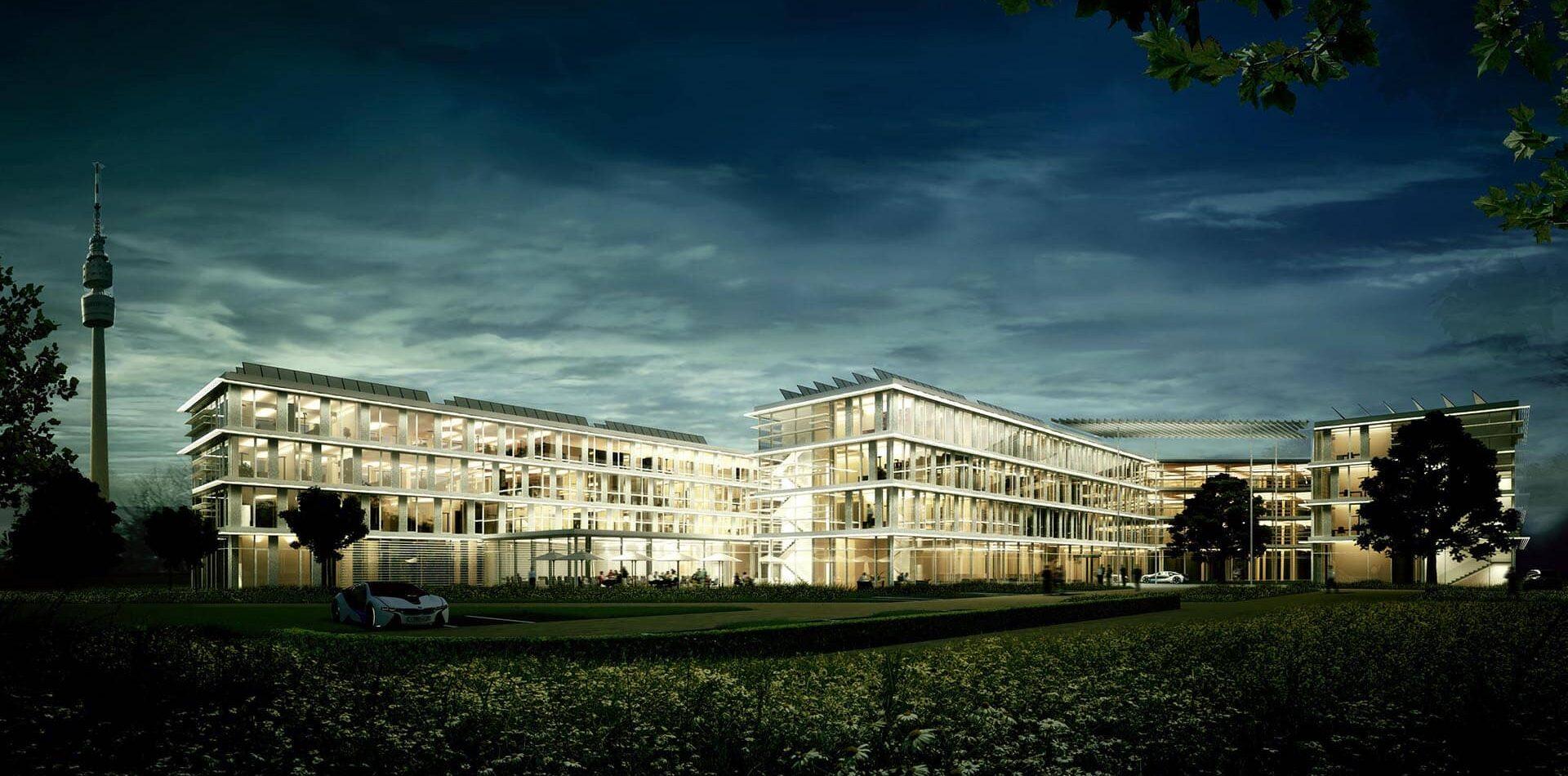 Amprion Dortmund 2ter Preis Generalplaner Wettbewerb-aussenperspektive mit Landschaft Nacht