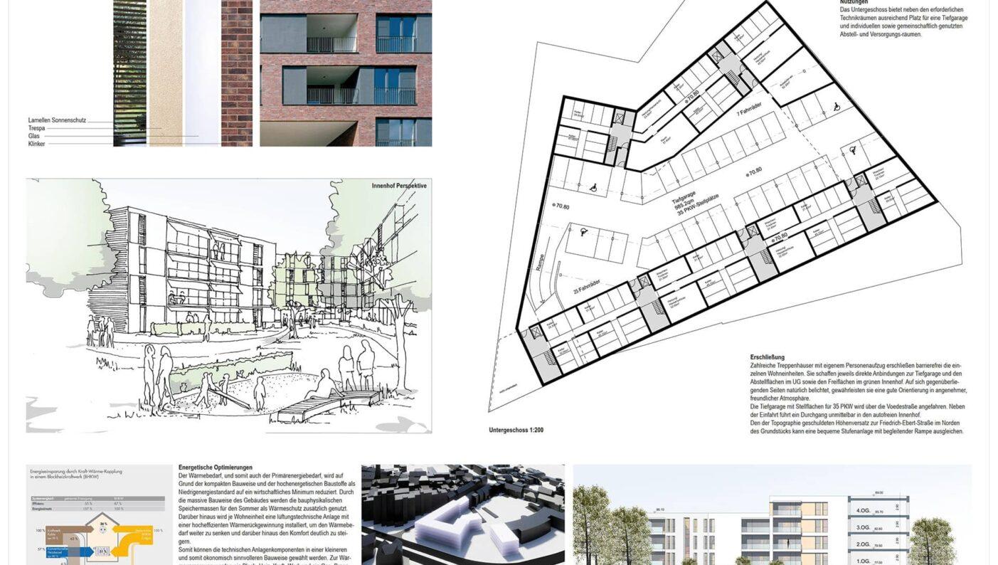 Bochum Voedestraße Wattenscheid Randbebauung Wettbewerb Projekt Grundriss