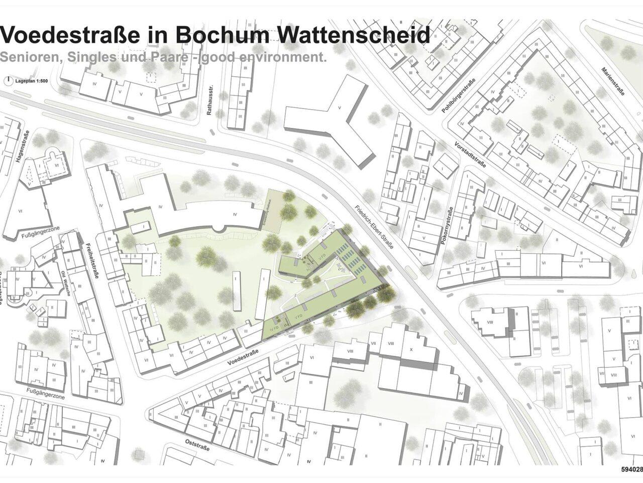 Bochum Voedestraße Wattenscheid Randbebauung Wettbewerb Projekt Lageplan