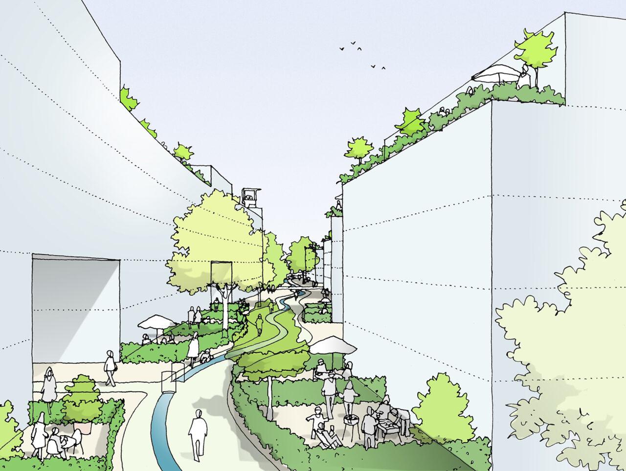 Essen51 4ter Preis Modulares Band Visualisierung Perspektive Innenhof