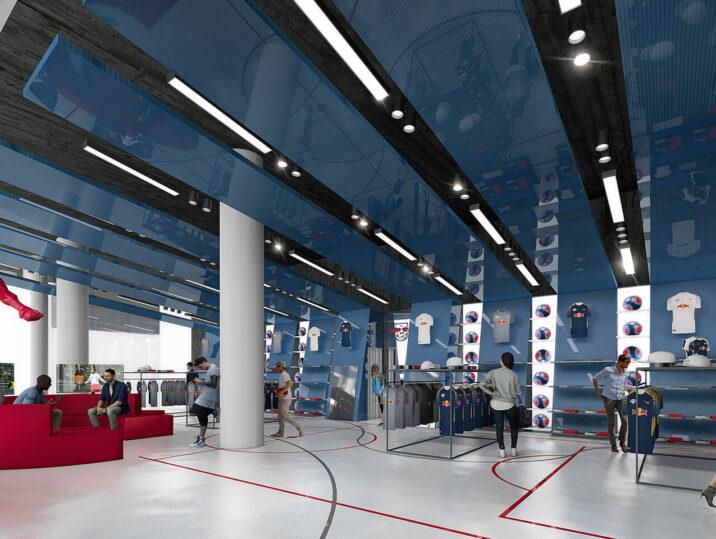 Leipzig Petersbogen Fanshop rbl sky lounge Stadion Visualisierung Shop