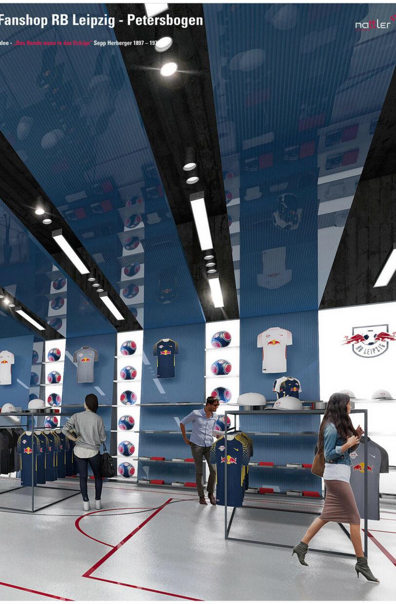 Leipzig Petersbogen Fanshop rbl sky lounge Stadion Visualisierung Verkaufsfläche