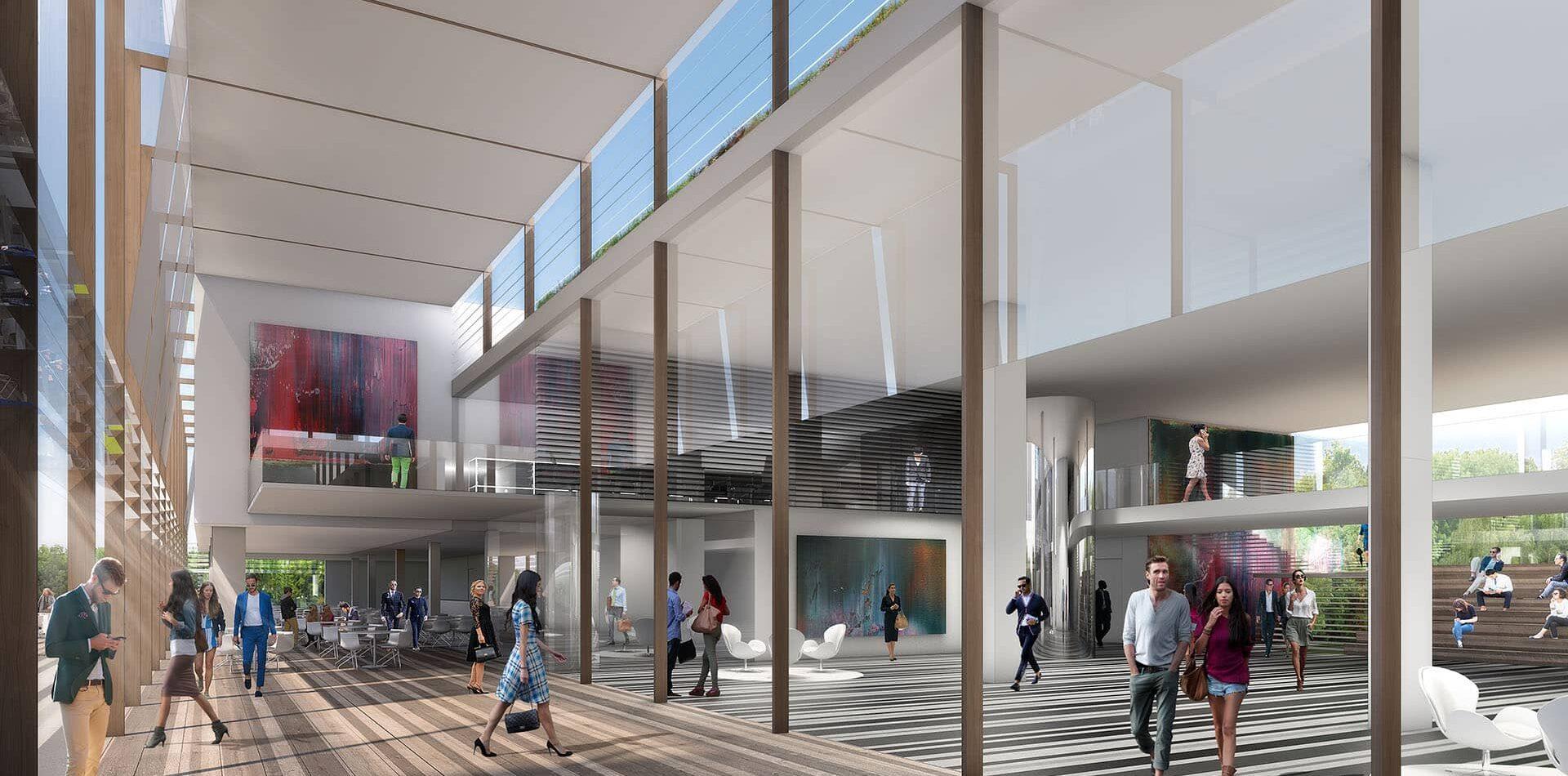 Rathaus Arnsberg Glasdach Glasfassade Visualisierung Eingangsbereich