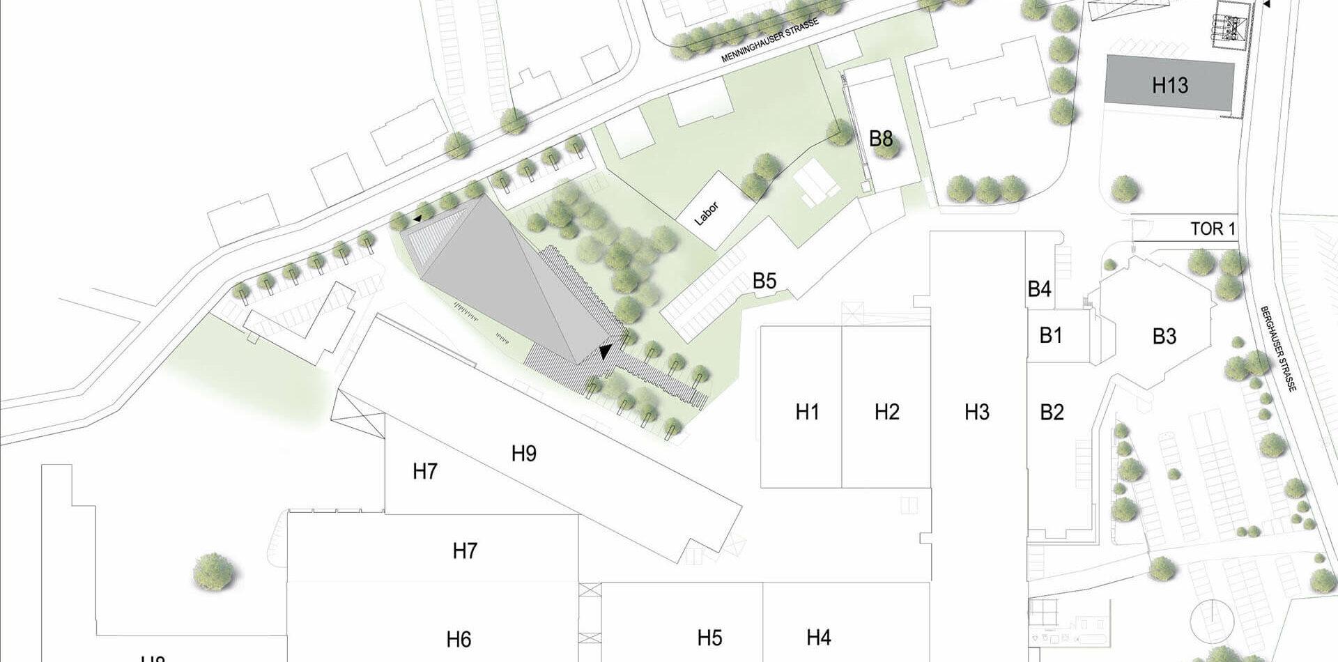 Vaillant Kantine Remscheid Wettbewerb-projekt Variante 1 Lageplan