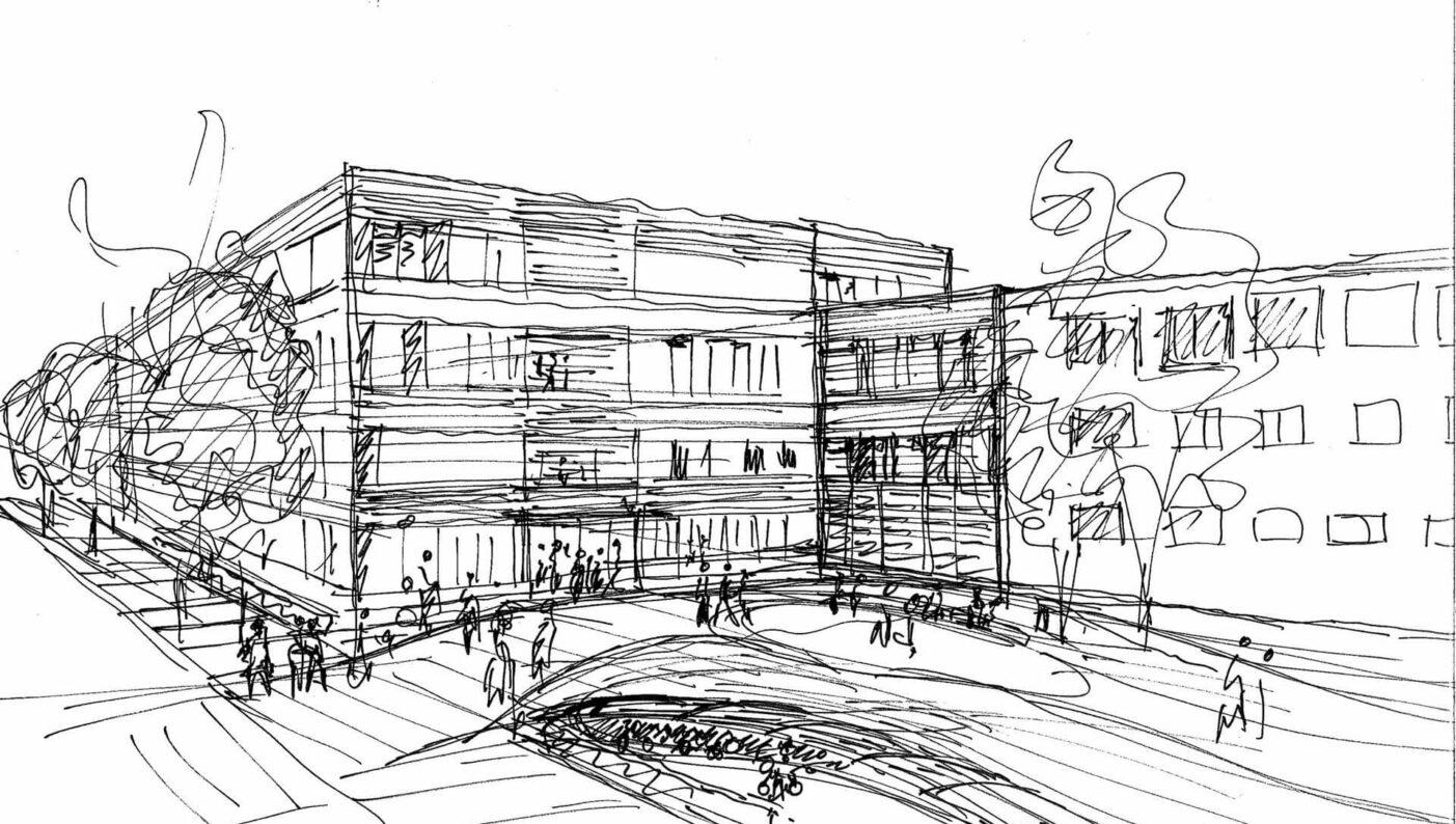 Verwaltungsgebäude Göttingen Eealisierungswettbewerb 2ter Preis Skizze